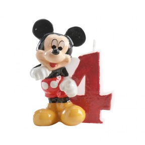 Bougie Chiffre N°4 - Mickey ~ 8 cm