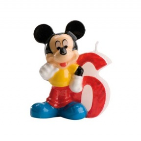 Bougie Chiffre N°6 - Mickey ~ 8 cm