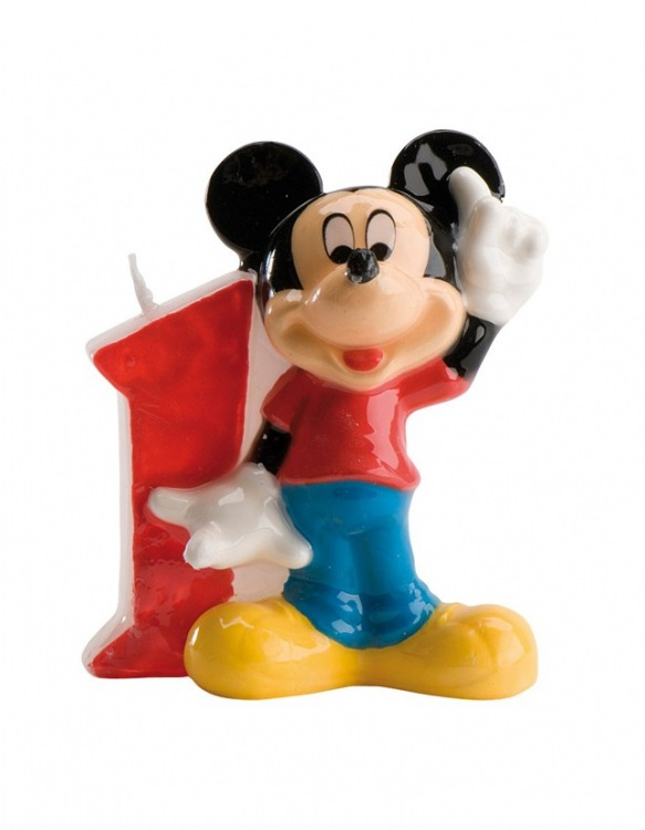 Bougie Chiffre N°1 - Mickey ~ 8 cm
