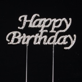 Cake Topper Happy Birthday Strasses ~ 5 x 10 cm