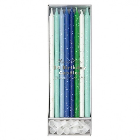 Assortiment bougies bleues 24p
