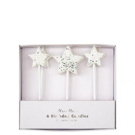 Bougies étoiles argentées 6 p