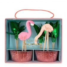 Kit cupcakes Flamant Roses 24p + toppers