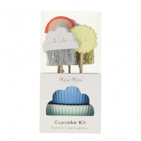 Kit cupcakes Nuage, Arc en ciel 24 p + toppers