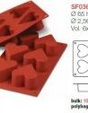 Moule en Silicone 6 Coeurs ~ 6,5 cm