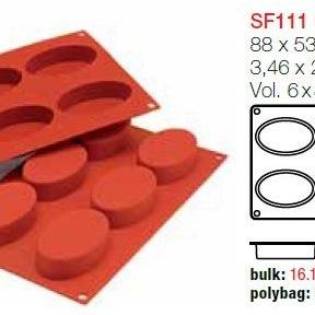 Moule en Silicone 6 Ovales ~ 8,8 cm