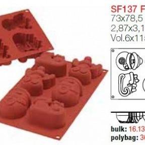 Moule en Silicone 6 Funny Christmas ~ 7,3 cm