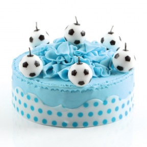 Bougies 6 Ballons de Football Ø 3 cm