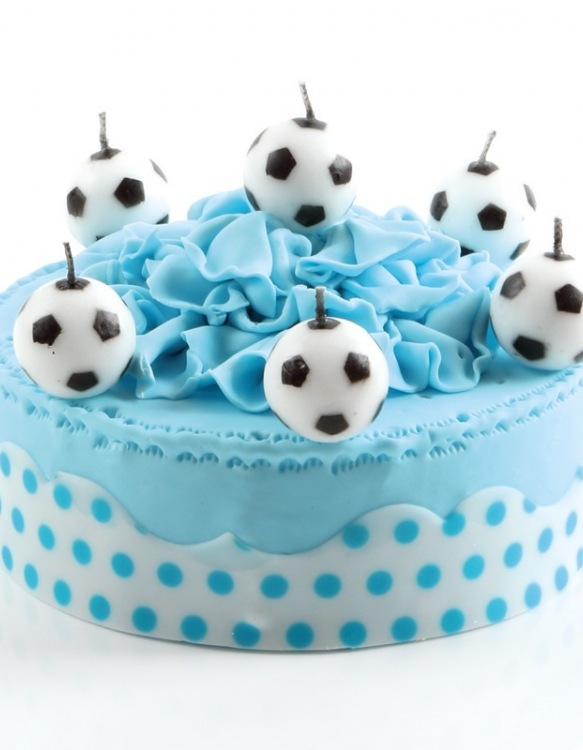 Bougies 6 Ballons de Football Ø 3 cm